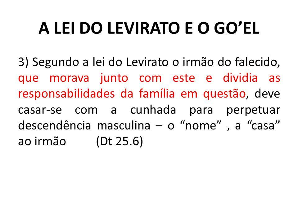 A LEI DO LEVIRATO E O GO'EL