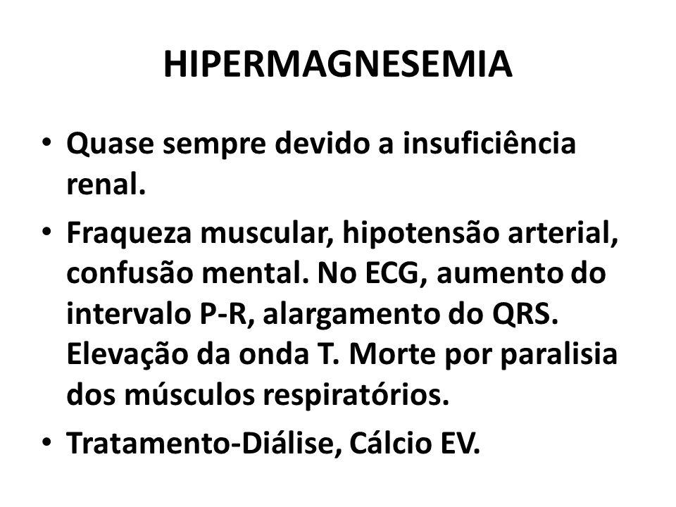 HIPERMAGNESEMIA Quase sempre devido a insuficiência renal.