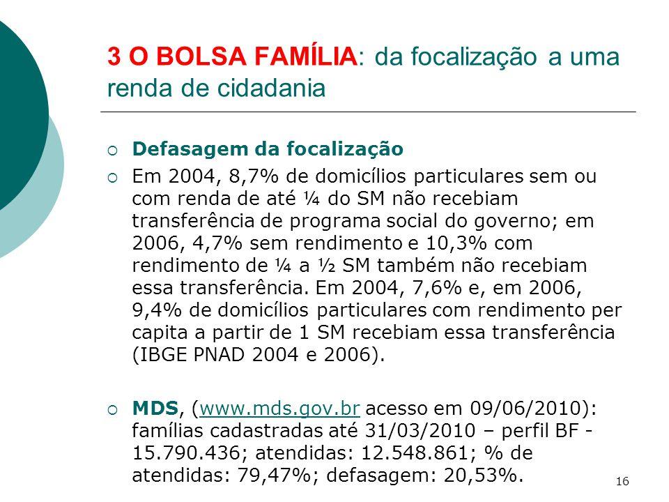 3 O BOLSA FAMÍLIA: da focalização a uma renda de cidadania