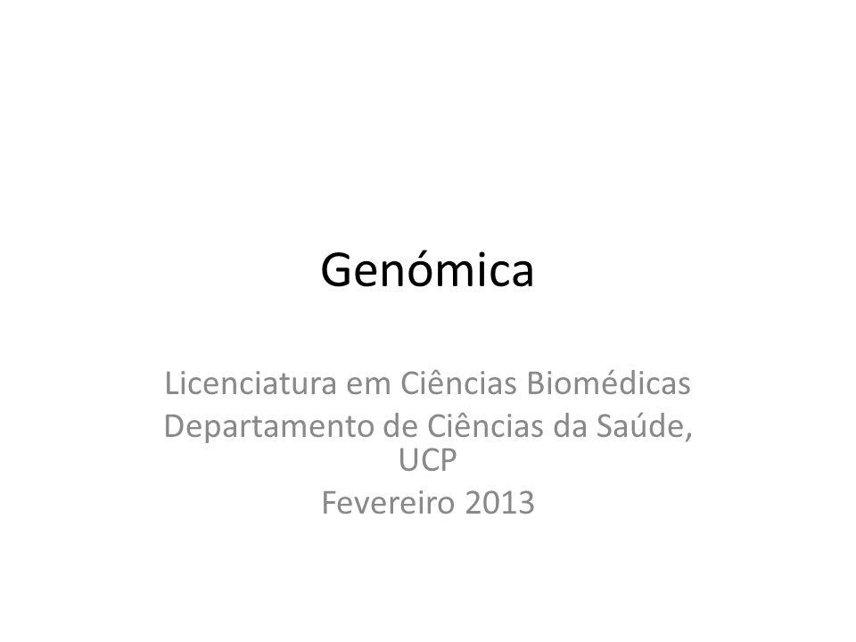Genómica Licenciatura em Ciências Biomédicas