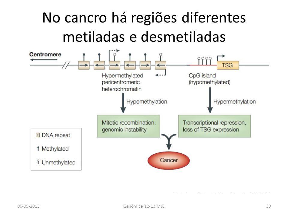 No cancro há regiões diferentes metiladas e desmetiladas