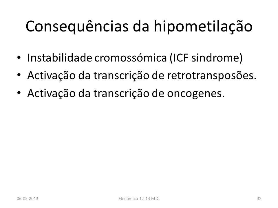 Consequências da hipometilação