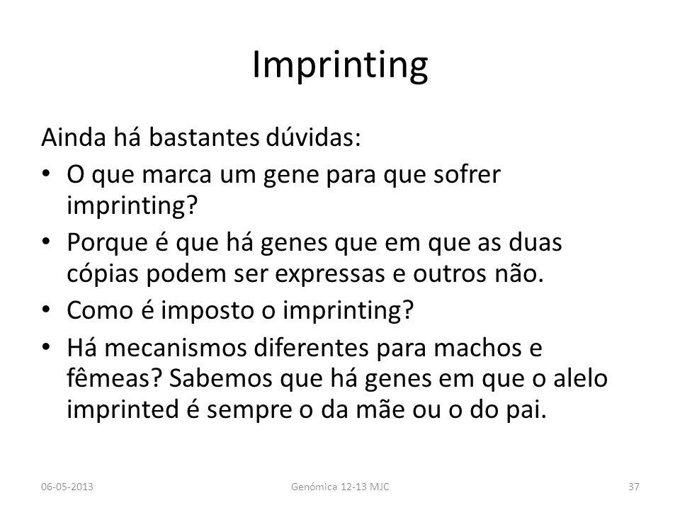Imprinting Ainda há bastantes dúvidas: