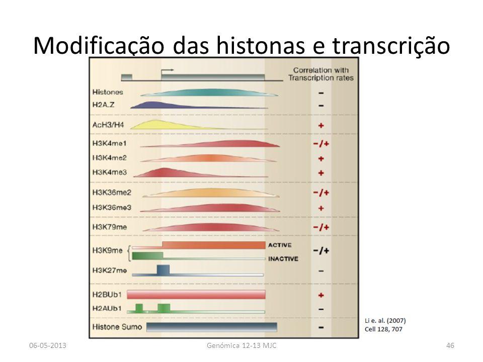 Modificação das histonas e transcrição