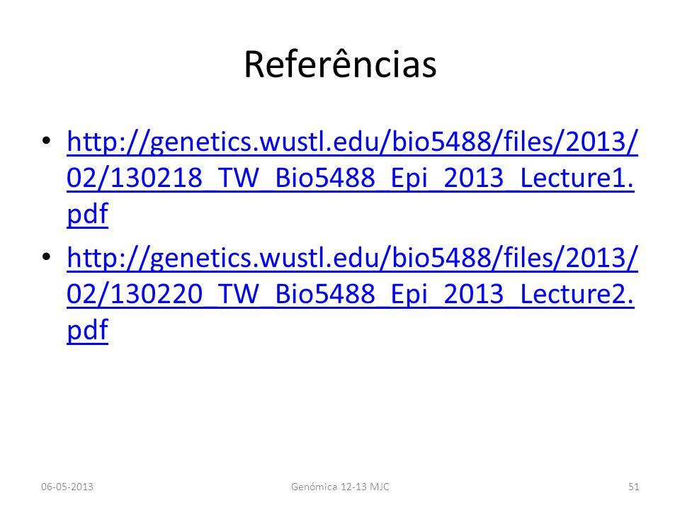 Referências http://genetics.wustl.edu/bio5488/files/2013/02/130218_TW_Bio5488_Epi_2013_Lecture1.pdf.