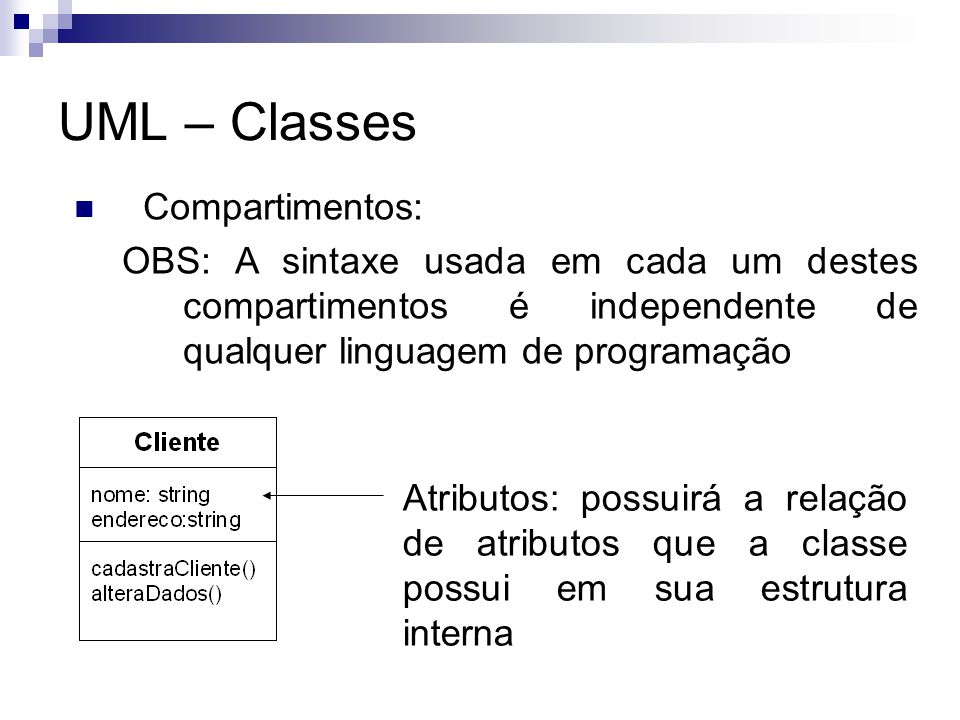 UML – Classes Compartimentos:
