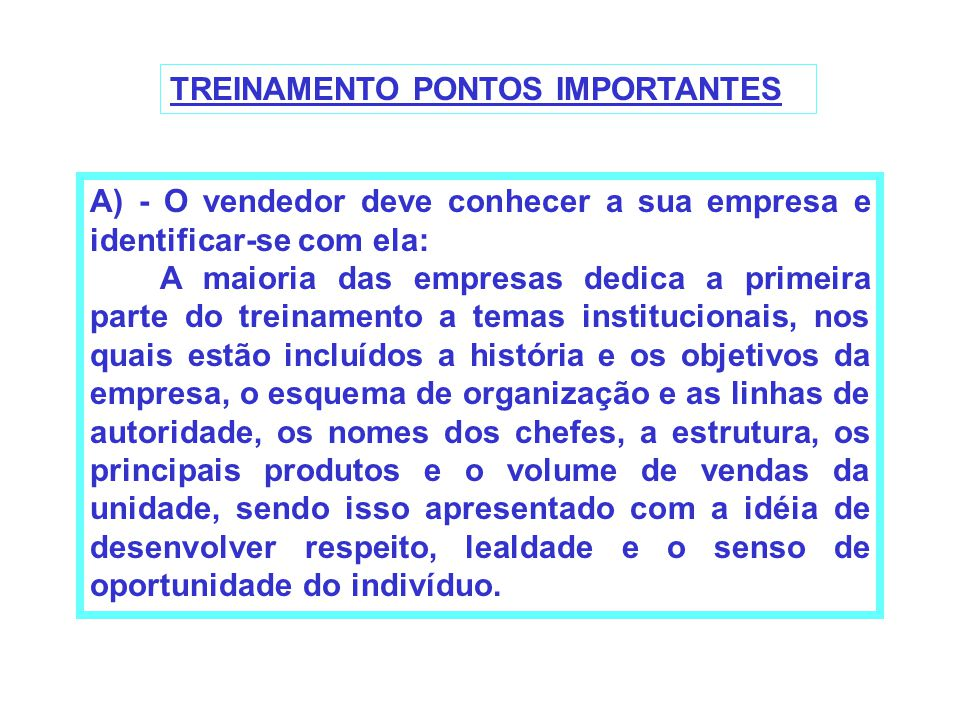TREINAMENTO PONTOS IMPORTANTES