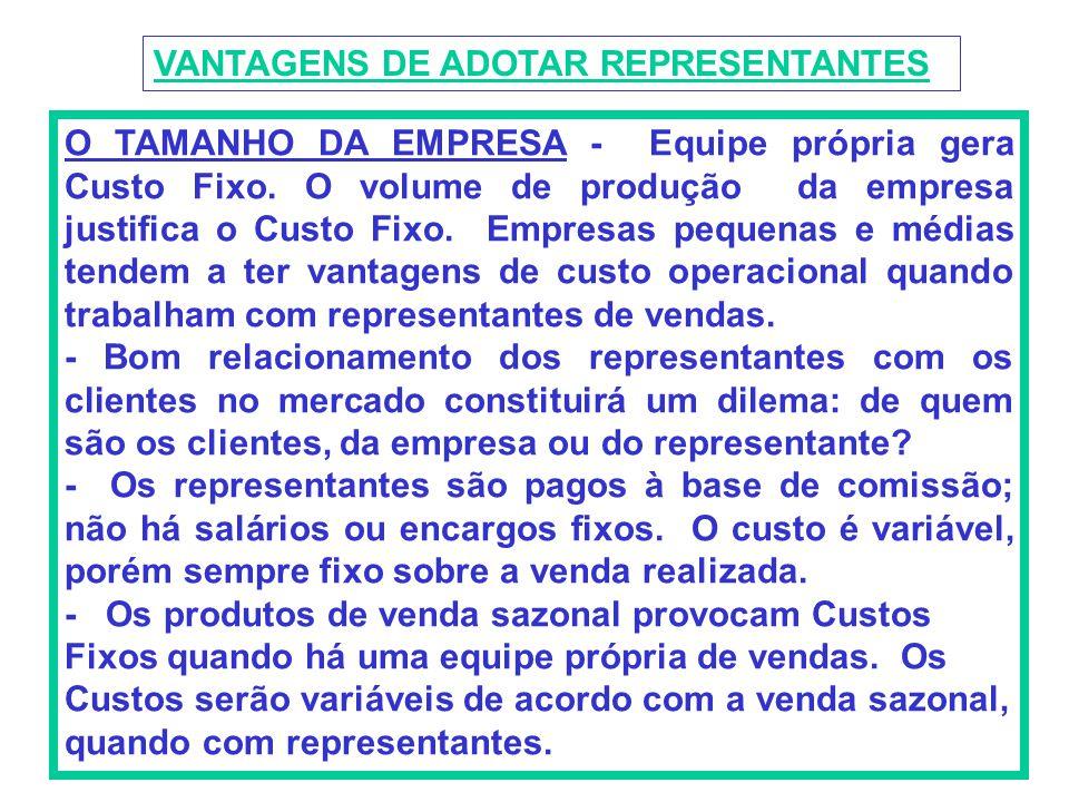 VANTAGENS DE ADOTAR REPRESENTANTES