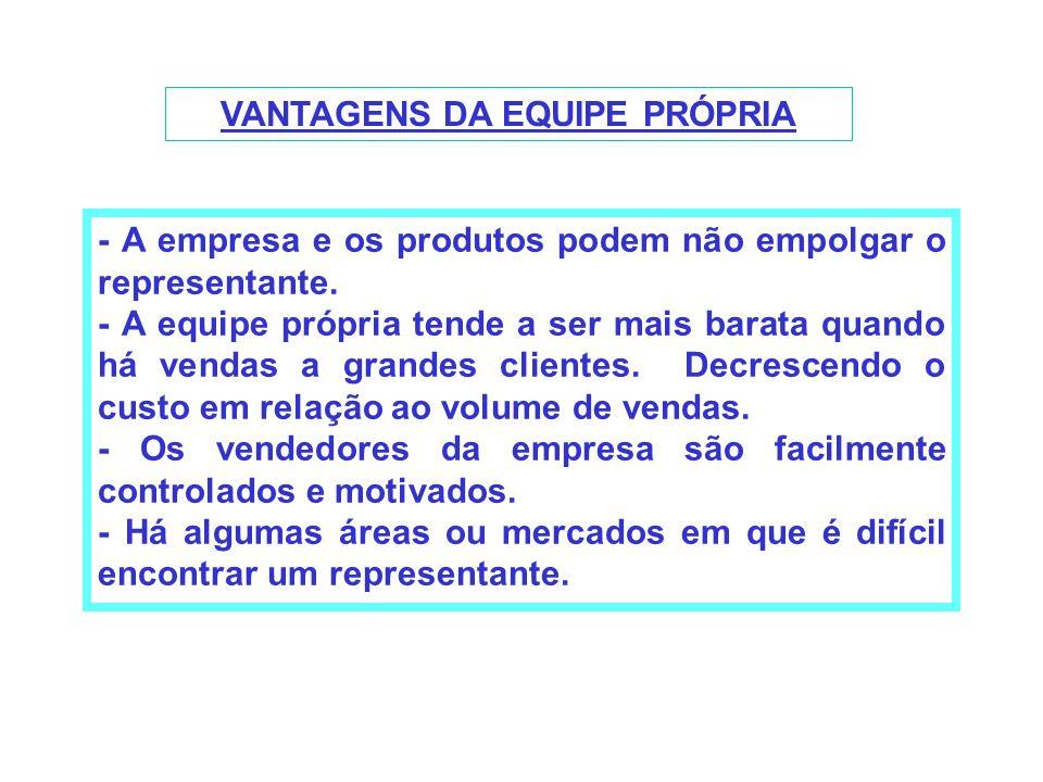 VANTAGENS DA EQUIPE PRÓPRIA