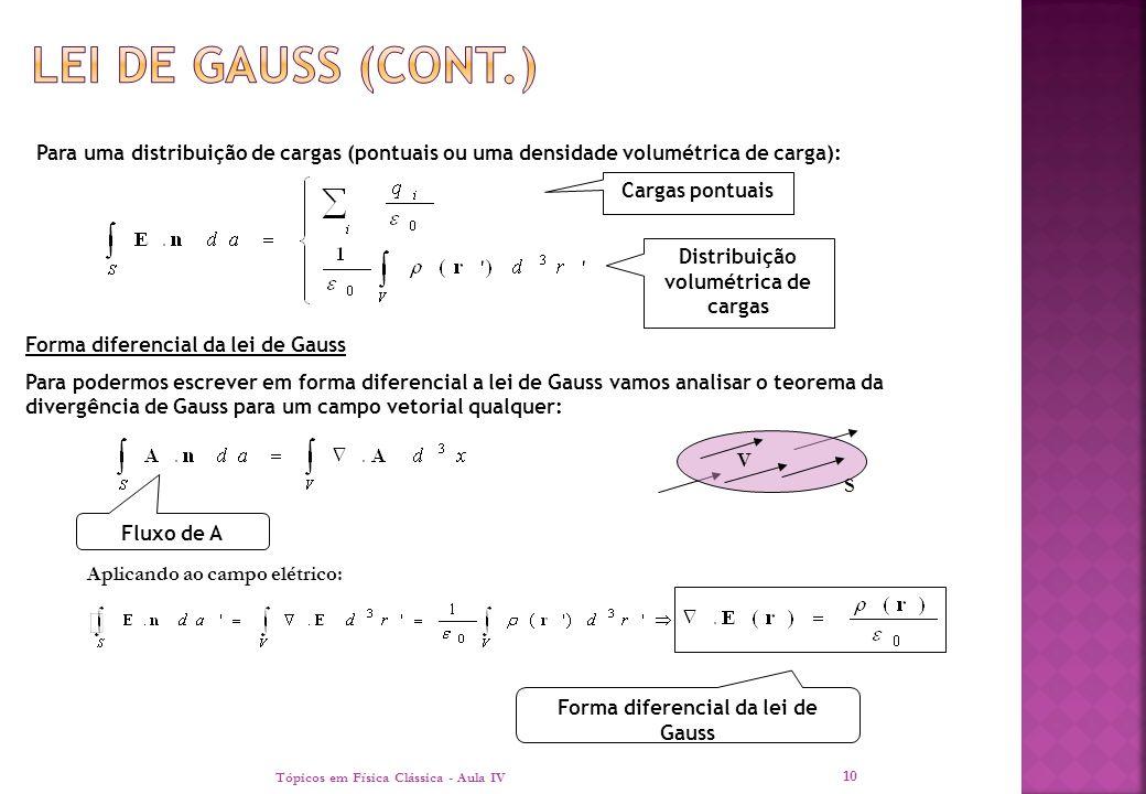 Distribuição volumétrica de cargas Forma diferencial da lei de Gauss