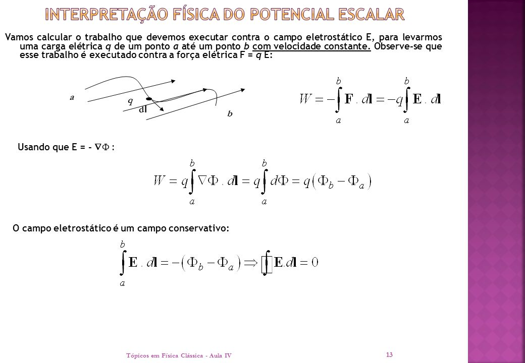 Interpretação física do potencial escalar