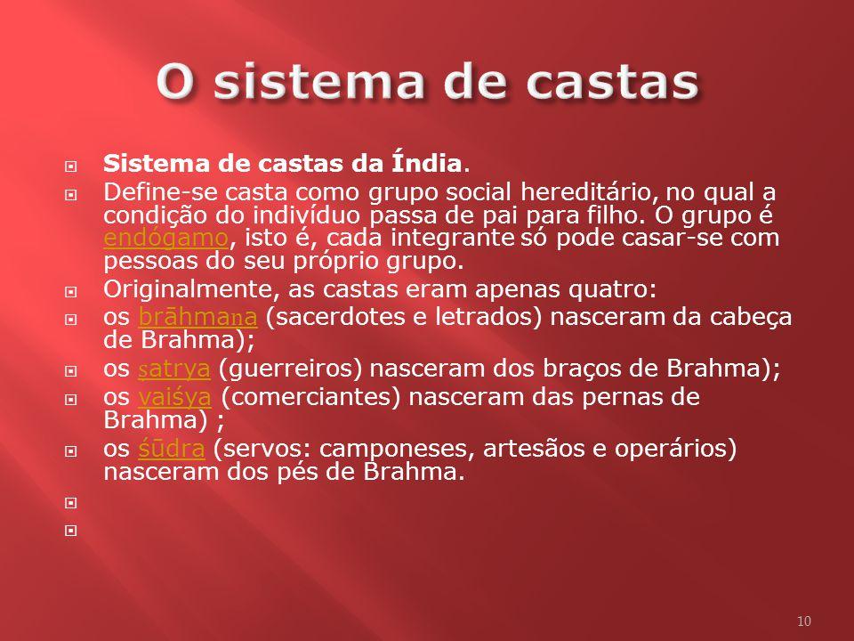 O sistema de castas Sistema de castas da Índia.
