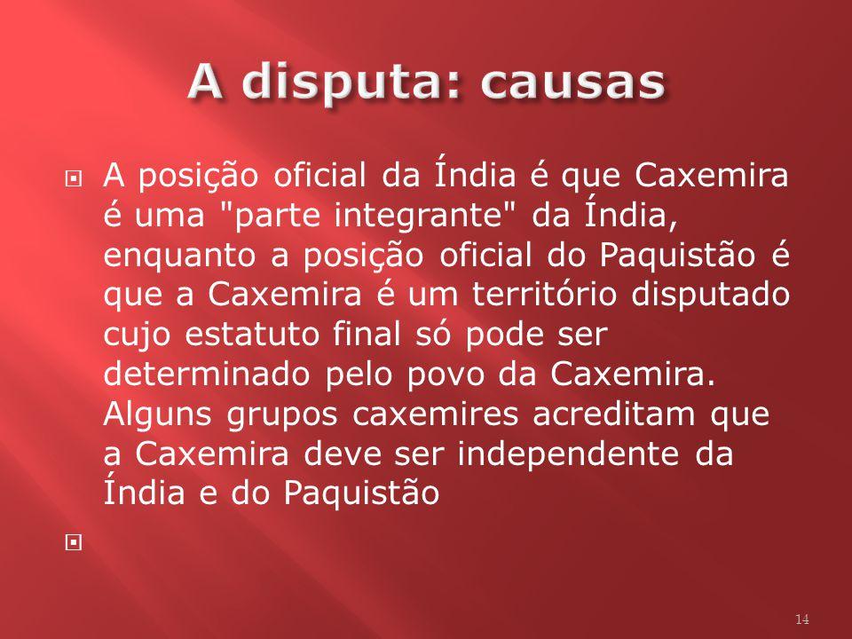 A disputa: causas