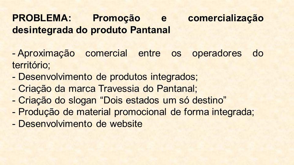 PROBLEMA: Promoção e comercialização desintegrada do produto Pantanal