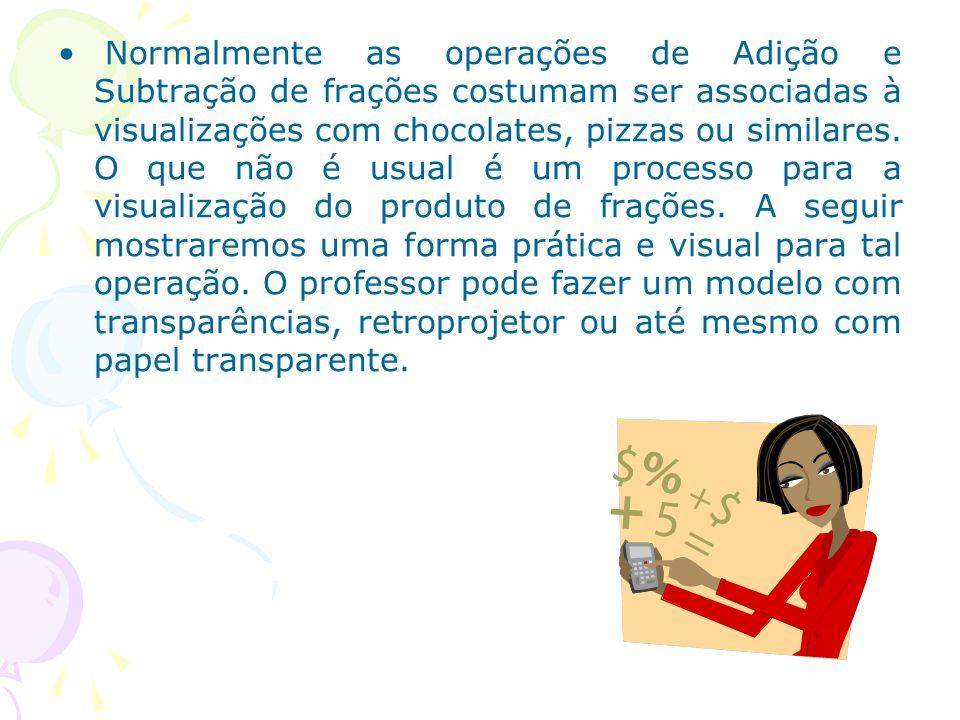 Normalmente as operações de Adição e Subtração de frações costumam ser associadas à visualizações com chocolates, pizzas ou similares.