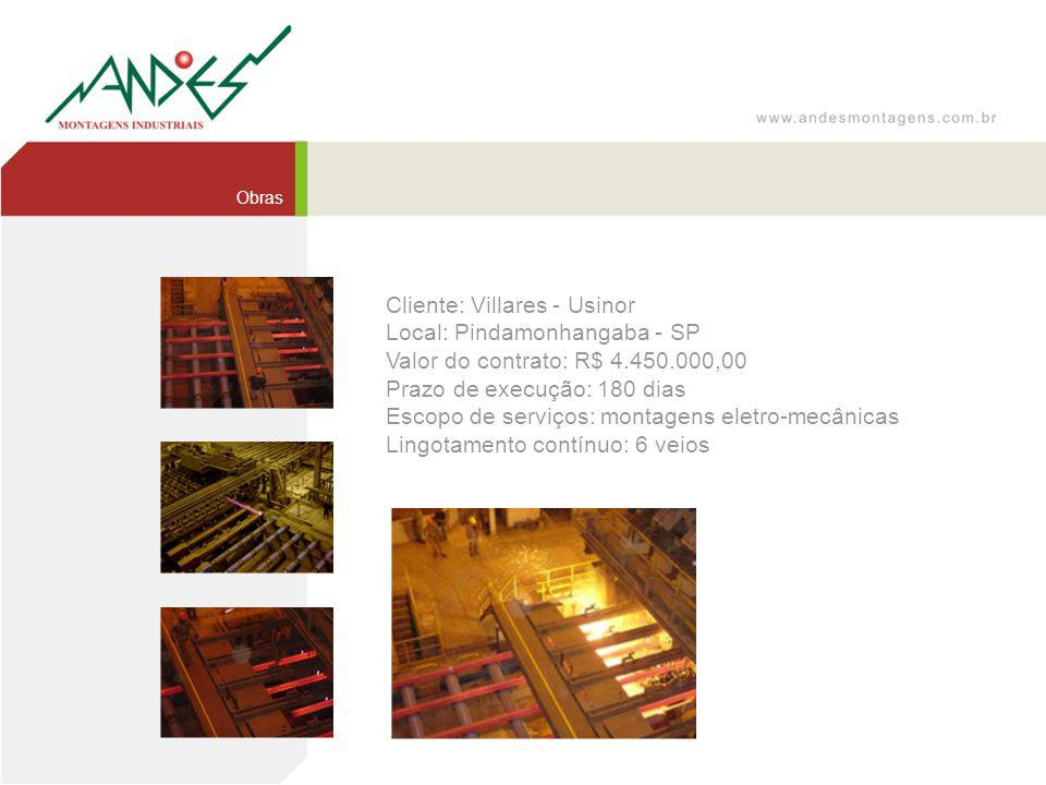 Cliente: Villares - Usinor Local: Pindamonhangaba - SP