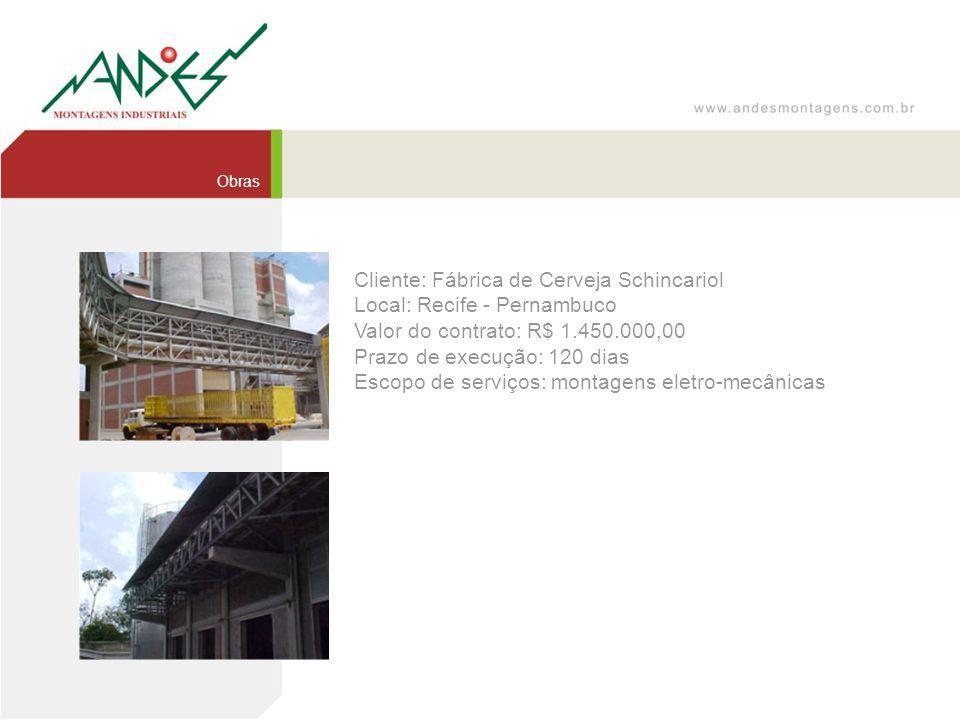 Cliente: Fábrica de Cerveja Schincariol Local: Recife - Pernambuco