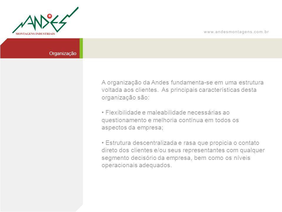Organização A organização da Andes fundamenta-se em uma estrutura voltada aos clientes. As principais características desta organização são: