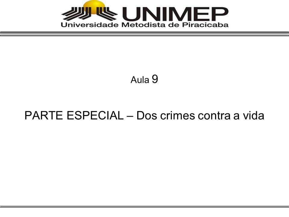 Aula 9 PARTE ESPECIAL – Dos crimes contra a vida
