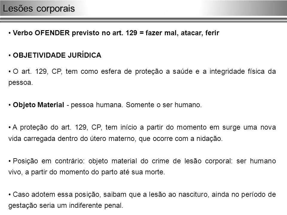 Lesões corporais Verbo OFENDER previsto no art. 129 = fazer mal, atacar, ferir. OBJETIVIDADE JURÍDICA.