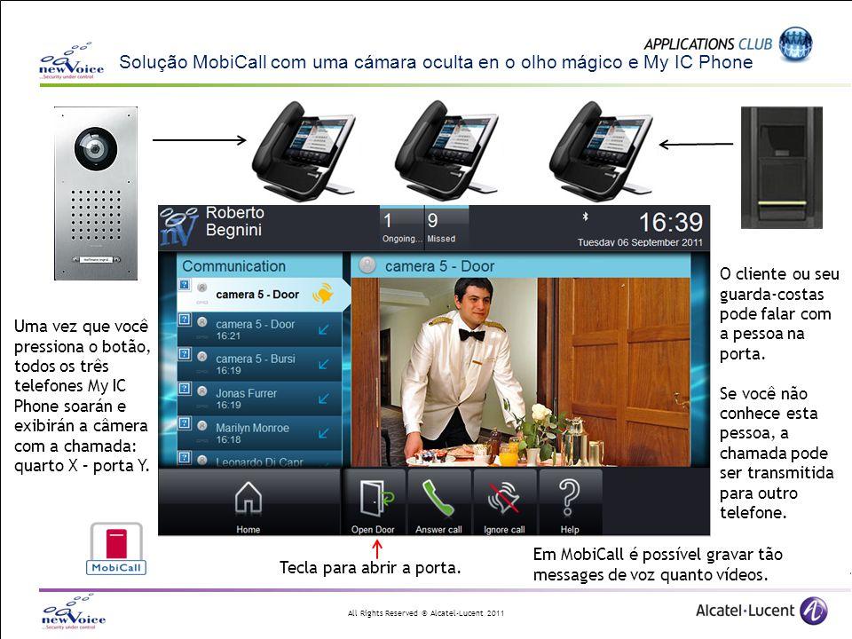 Solução MobiCall com uma cámara oculta en o olho mágico e My IC Phone