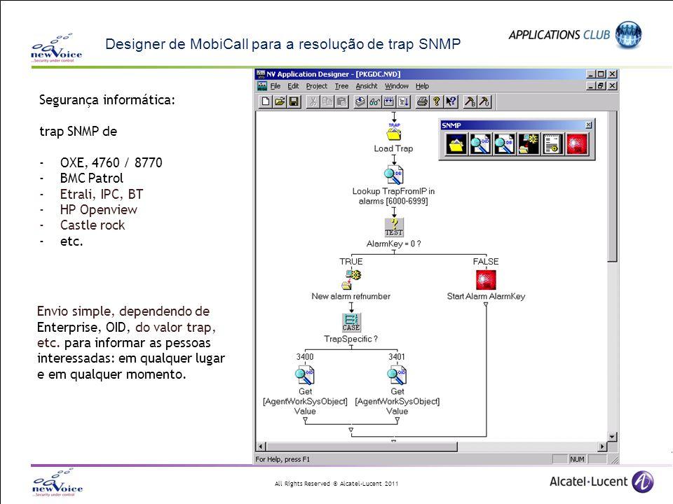 Designer de MobiCall para a resolução de trap SNMP