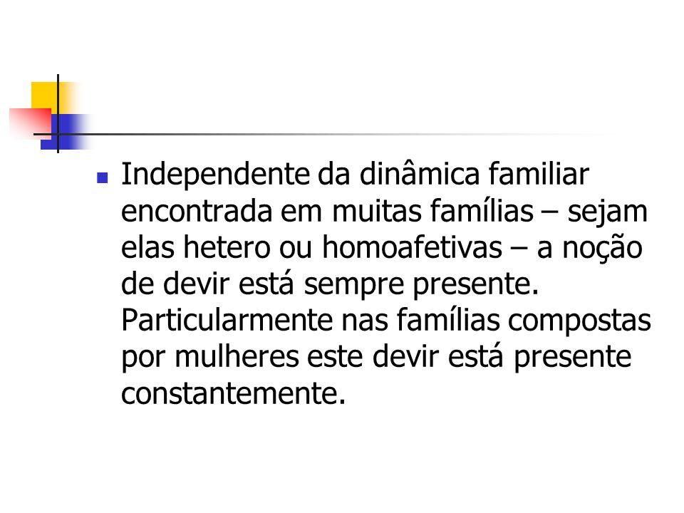 Independente da dinâmica familiar encontrada em muitas famílias – sejam elas hetero ou homoafetivas – a noção de devir está sempre presente.