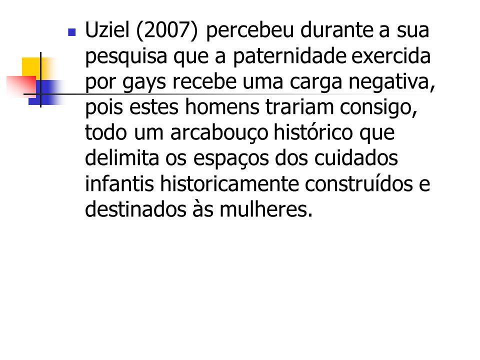Uziel (2007) percebeu durante a sua pesquisa que a paternidade exercida por gays recebe uma carga negativa, pois estes homens trariam consigo, todo um arcabouço histórico que delimita os espaços dos cuidados infantis historicamente construídos e destinados às mulheres.