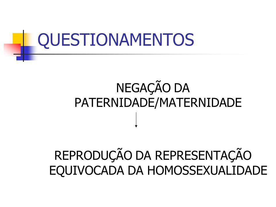 QUESTIONAMENTOS NEGAÇÃO DA PATERNIDADE/MATERNIDADE