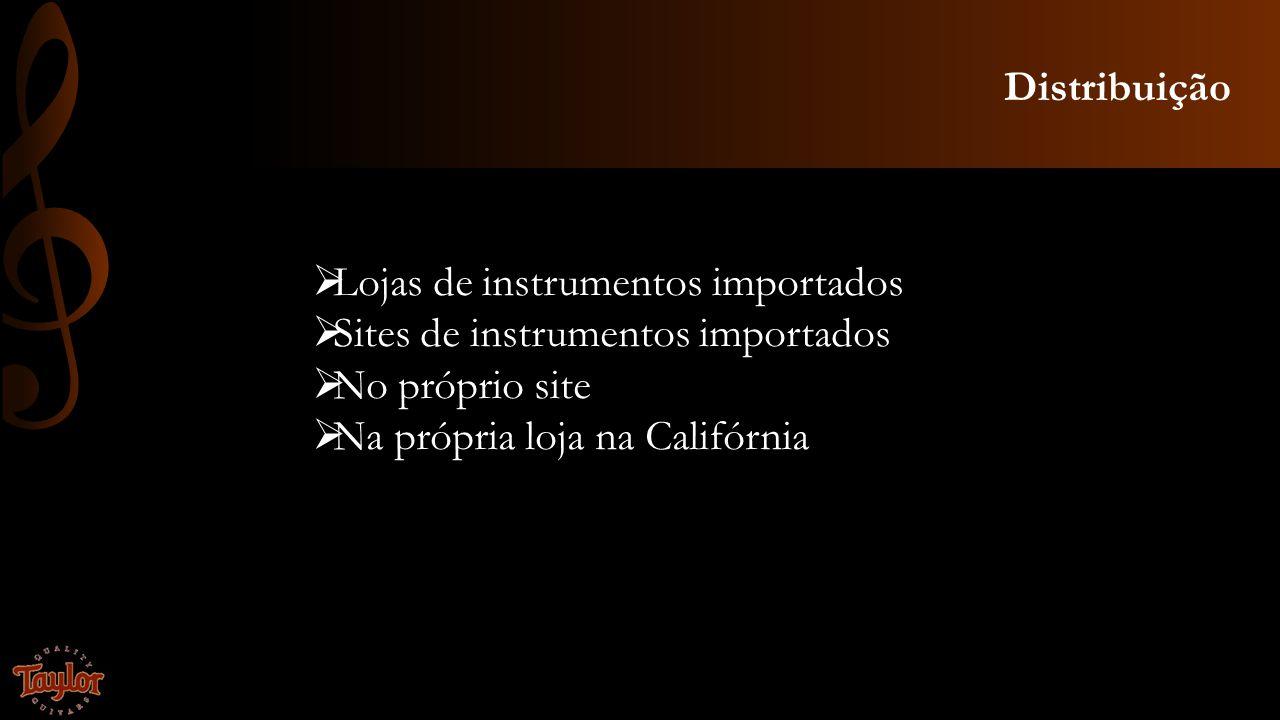 Distribuição Lojas de instrumentos importados. Sites de instrumentos importados. No próprio site.