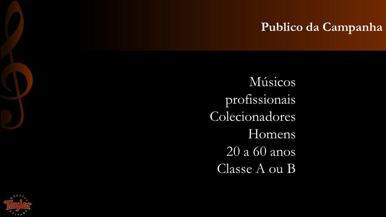 Músicos profissionais Colecionadores Homens 20 a 60 anos Classe A ou B