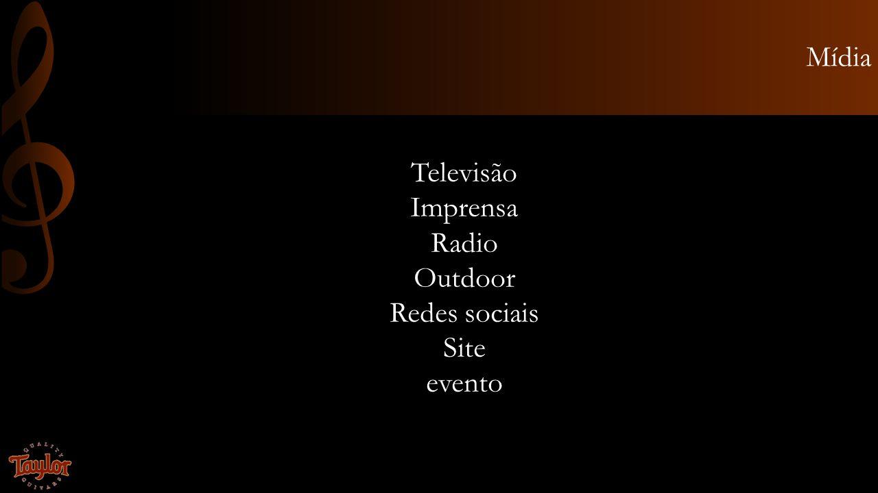 Mídia Televisão Imprensa Radio Outdoor Redes sociais Site evento