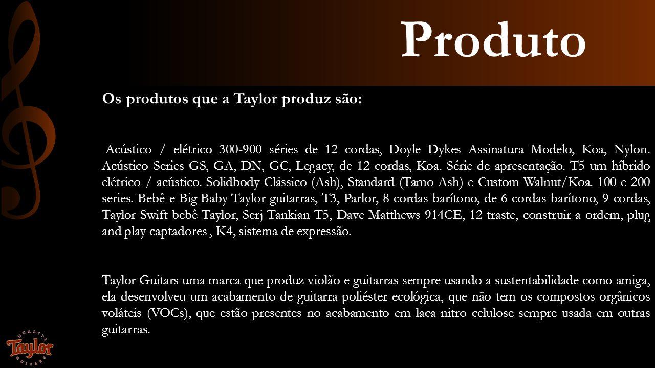 Produto Os produtos que a Taylor produz são: