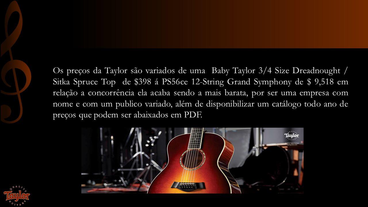 Os preços da Taylor são variados de uma Baby Taylor 3/4 Size Dreadnought / Sitka Spruce Top de $398 á PS56ce 12-String Grand Symphony de $ 9,518 em relação a concorrência ela acaba sendo a mais barata, por ser uma empresa com nome e com um publico variado, além de disponibilizar um catálogo todo ano de preços que podem ser abaixados em PDF.