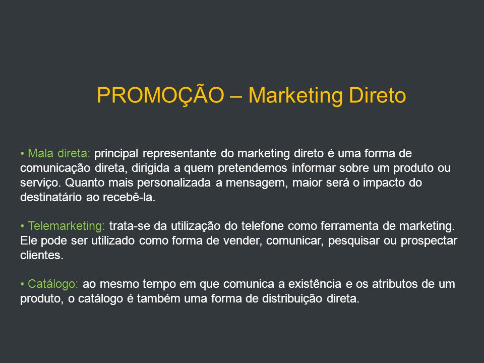 PROMOÇÃO – Marketing Direto