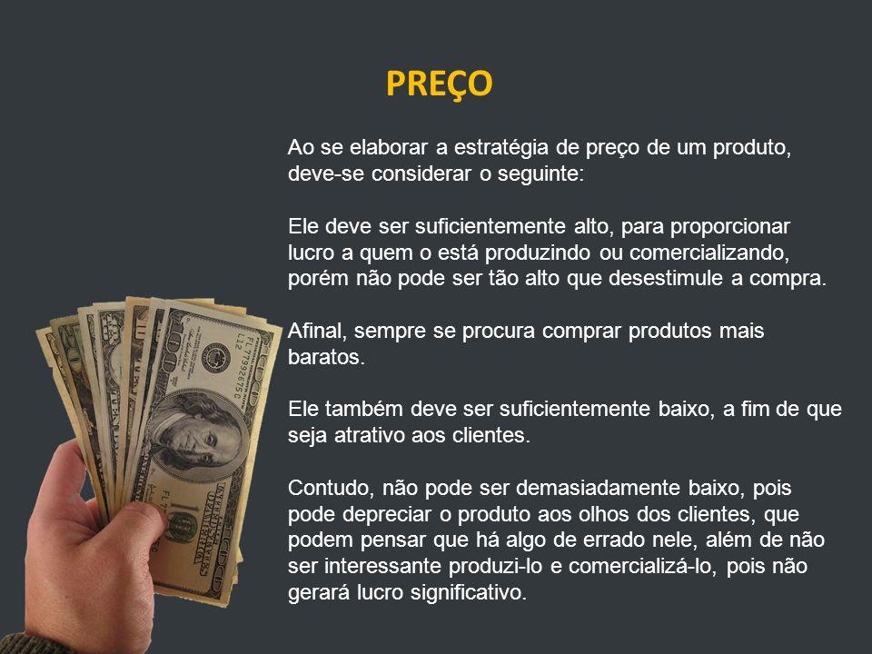 PREÇO Ao se elaborar a estratégia de preço de um produto, deve-se considerar o seguinte: