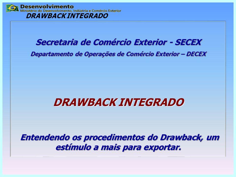 DRAWBACK INTEGRADO Secretaria de Comércio Exterior - SECEX