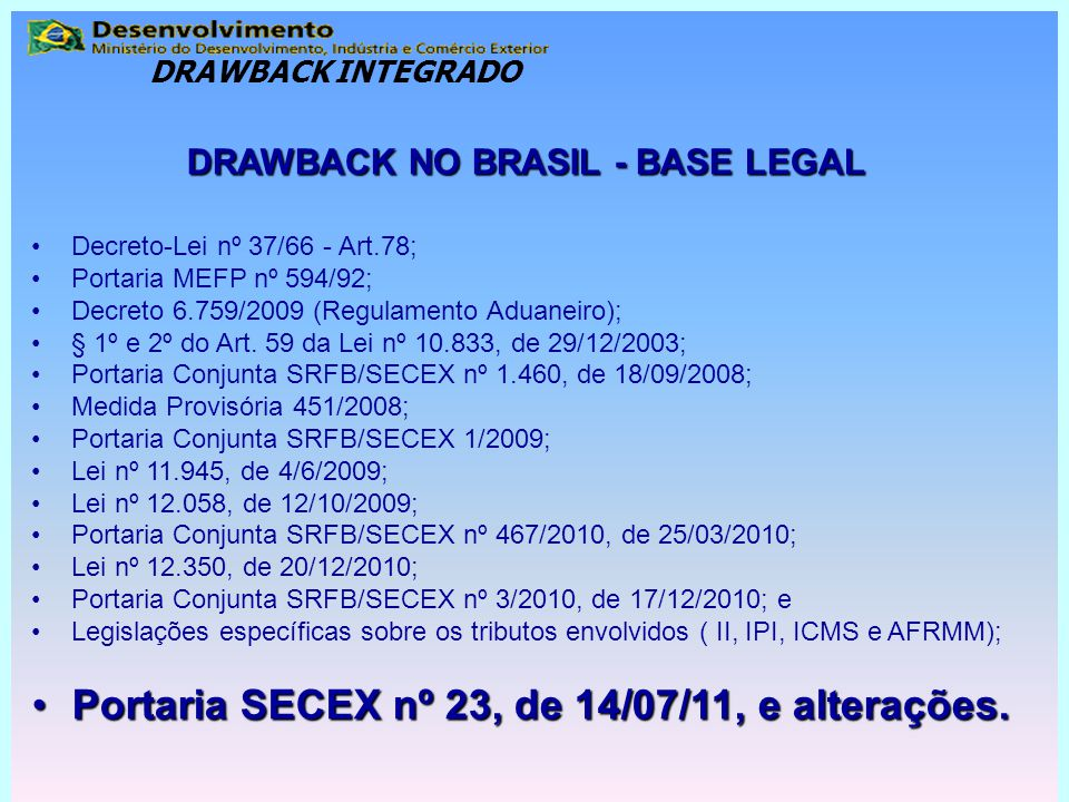 DRAWBACK NO BRASIL - BASE LEGAL