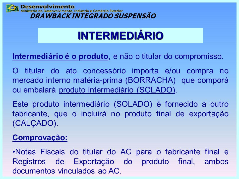 DRAWBACK INTEGRADO SUSPENSÃO
