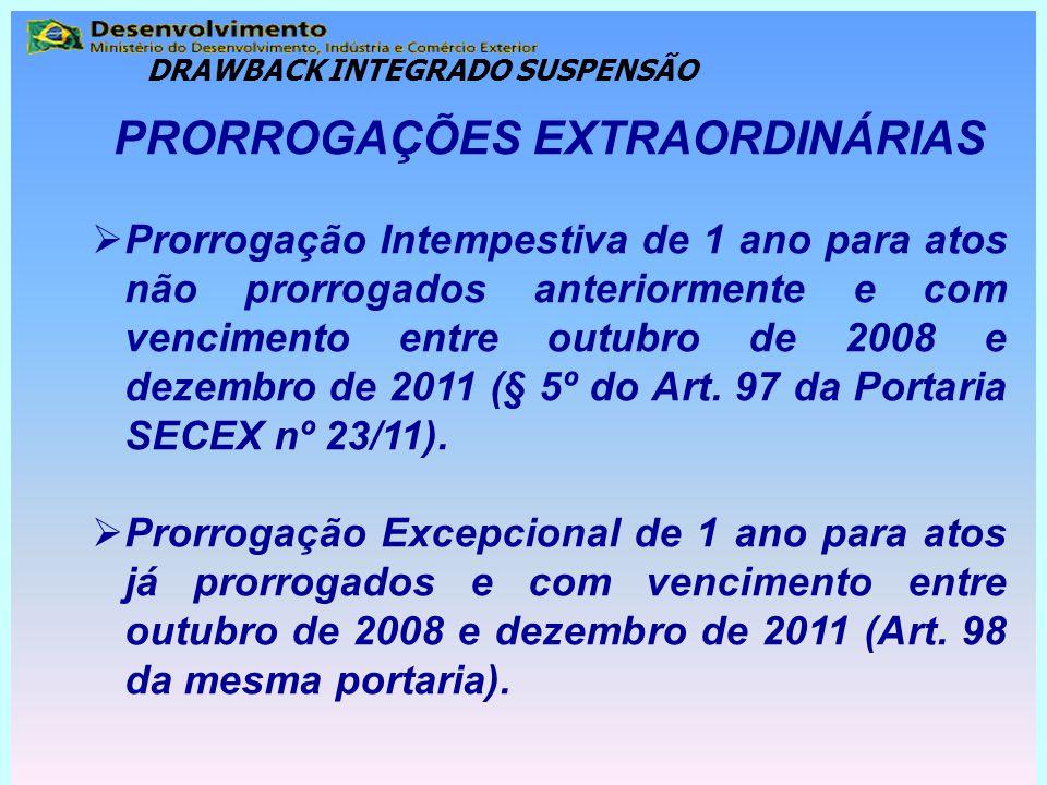 PRORROGAÇÕES EXTRAORDINÁRIAS