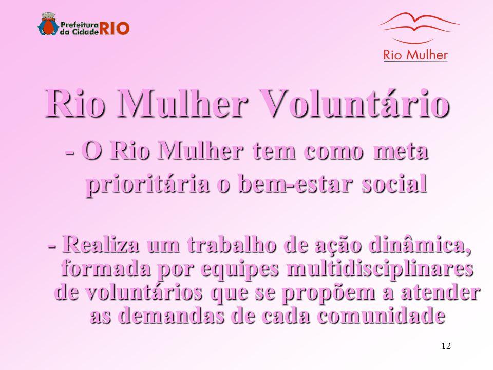 - O Rio Mulher tem como meta prioritária o bem-estar social