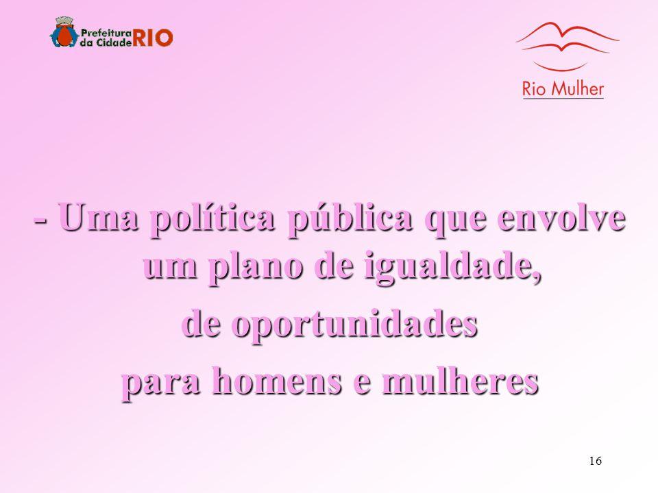 - Uma política pública que envolve um plano de igualdade,