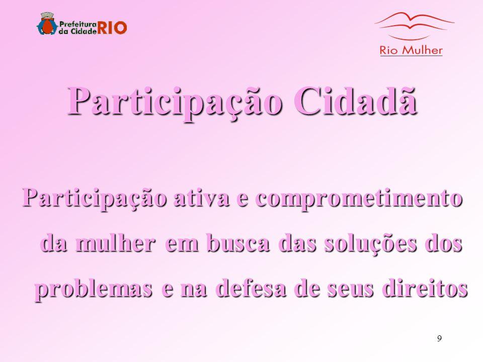 Participação Cidadã Participação ativa e comprometimento da mulher em busca das soluções dos problemas e na defesa de seus direitos.