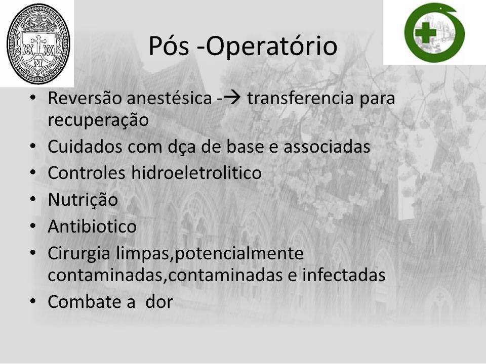 Pós -Operatório Reversão anestésica - transferencia para recuperação