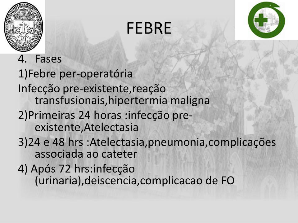FEBRE Fases 1)Febre per-operatória