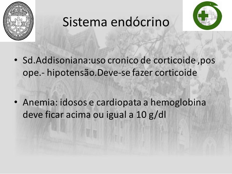 Sistema endócrino Sd.Addisoniana:uso cronico de corticoide ,pos ope.- hipotensão.Deve-se fazer corticoide.