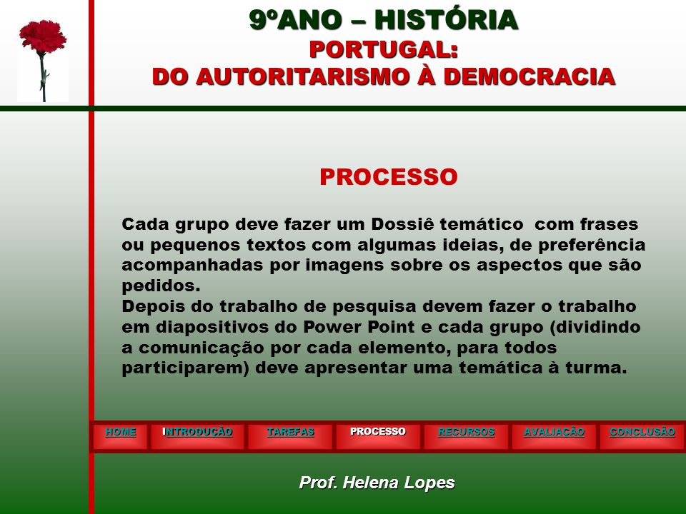 9ºANO – HISTÓRIA PORTUGAL: DO AUTORITARISMO À DEMOCRACIA