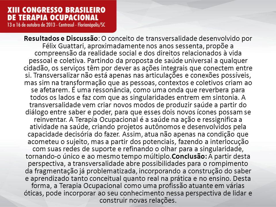 Resultados e Discussão: O conceito de transversalidade desenvolvido por Félix Guattari, aproximadamente nos anos sessenta, propõe a compreensão da realidade social e dos direitos relacionados à vida pessoal e coletiva.