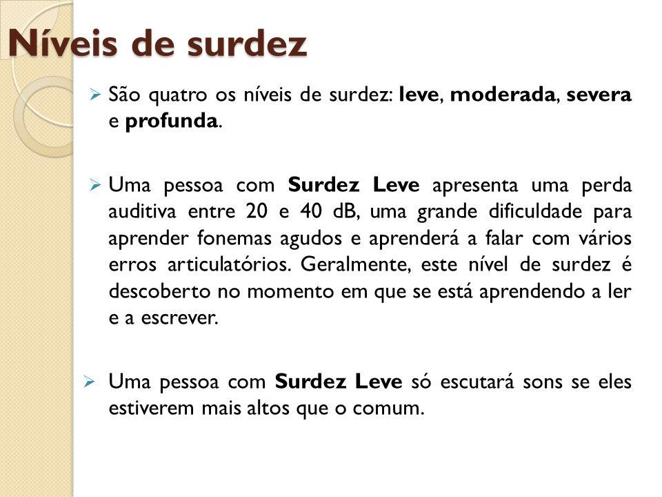 Níveis de surdez São quatro os níveis de surdez: leve, moderada, severa e profunda.