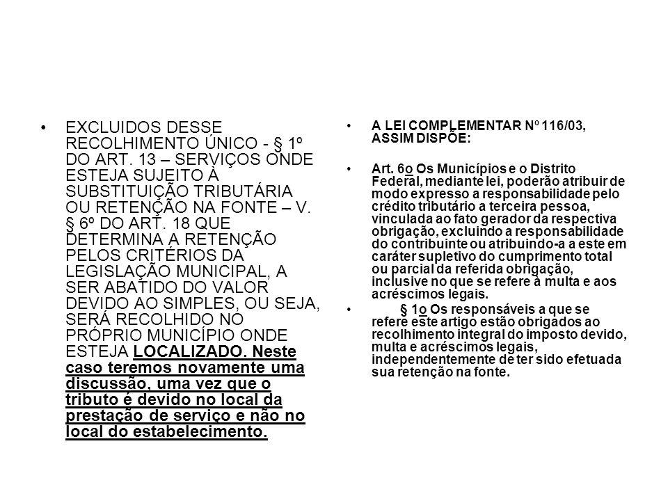 EXCLUIDOS DESSE RECOLHIMENTO ÚNICO - § 1º DO ART